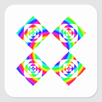 Bright Rainbow Color Flowers. On White. Square Sticker