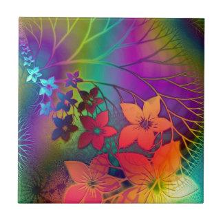Bright rainbow colored floral design ceramic tile