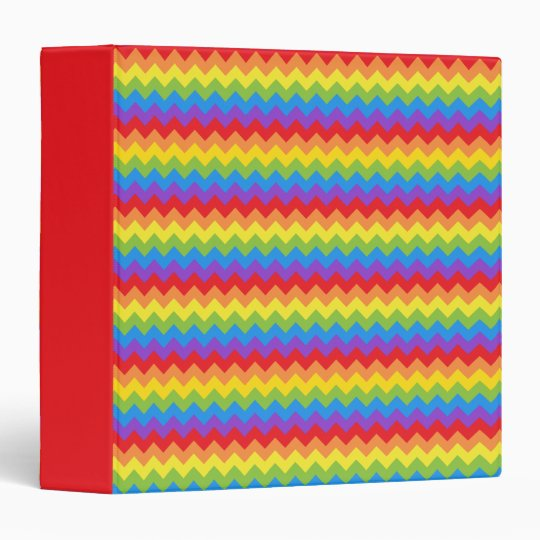 Bright rainbow colored zig zag pattern 3 ring binder