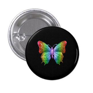 Bright Rainbow Colors Jeweled Butterfly 3D Effect 1 Inch Round Button