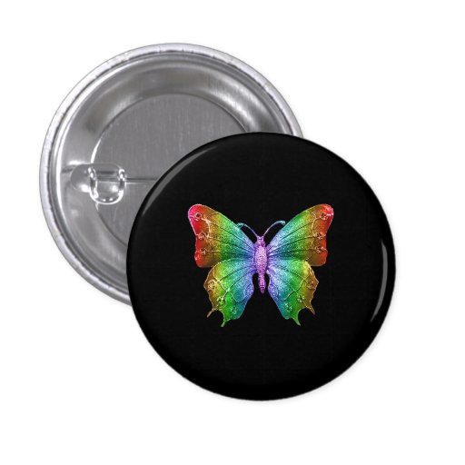 Bright Rainbow Colors Jeweled Butterfly 3D Effect Buttons