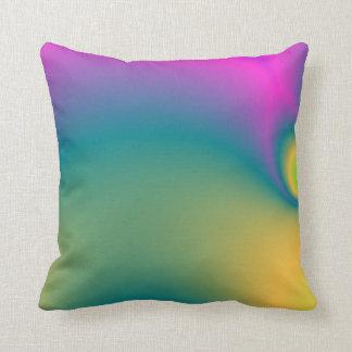 Bright Rainbow Coloured Fractal Cushion