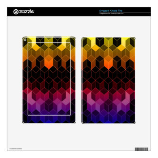 Bright Rainbow Cube Design Decal For Kindle Fire
