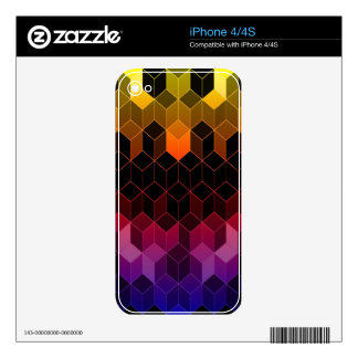 Bright Rainbow Cube Design Skins For iPhone 4