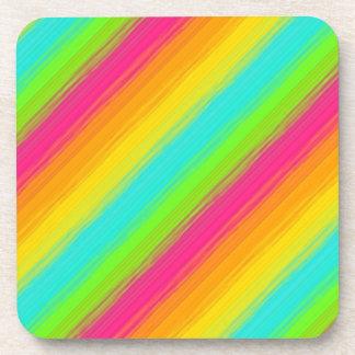 bright rainbow diagonal stripes beverage coaster