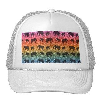 Bright rainbow elephant glitter pattern hats