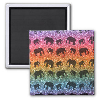 Bright rainbow elephant glitter pattern magnet