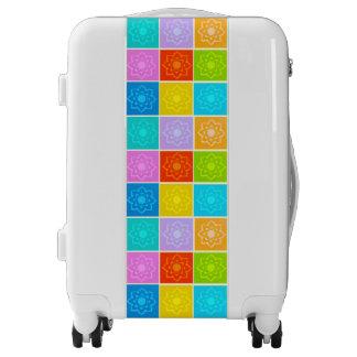 Bright Rainbow Floral Block Pattern Luggage
