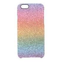 Bright rainbow glitter clear iPhone 6/6S case