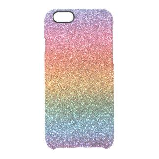 Bright rainbow glitter clear iPhone 6/6S case
