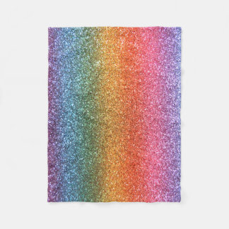 Bright rainbow glitter fleece blanket