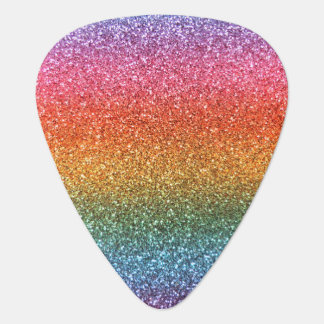 Bright rainbow glitter guitar pick