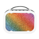 Bright rainbow glitter lunch boxes