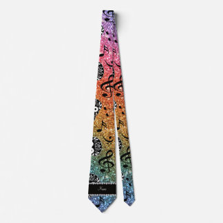 Bright rainbow glitter music notes sugar skulls neck tie