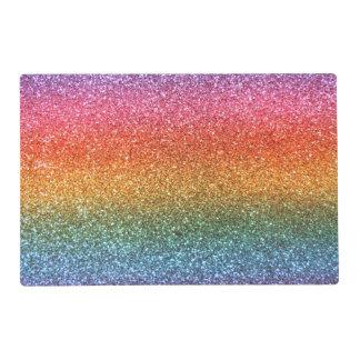 Bright rainbow glitter laminated placemat