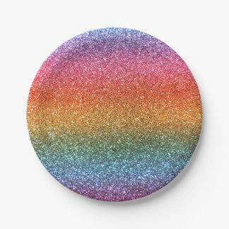 Bright rainbow glitter paper plate