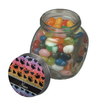 Bright rainbow glitter princess crowns diamonds jelly belly candy jars