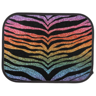 Bright rainbow glitter tiger stripes car mat