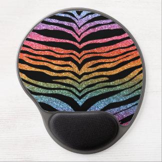 Bright rainbow glitter tiger stripes gel mousepads