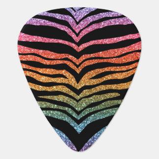 Bright rainbow glitter tiger stripes pick
