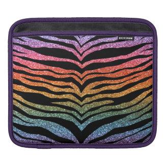 Bright rainbow glitter tiger stripes iPad sleeves