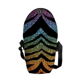Bright rainbow glitter tiger stripes messenger bags