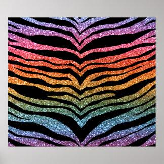 Bright rainbow glitter tiger stripes poster
