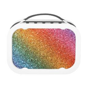 Bright rainbow glitter yubo lunch box