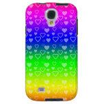 Bright rainbow hearts galaxy s4 case