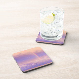 Bright Rainbow in a Purple and Pink Sunset Beverage Coasters