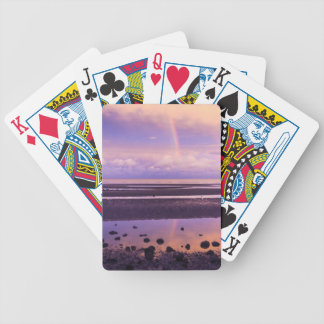Bright Rainbow in a Purple and Pink Sunset Bicycle Playing Cards