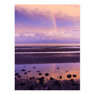 Bright Rainbow in a Purple and Pink Sunset Postcard