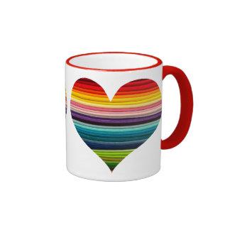 Bright Rainbow of Many Colors Heart Design Ringer Coffee Mug