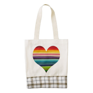 Bright Rainbow of Many Colors Heart Design Zazzle HEART Tote Bag