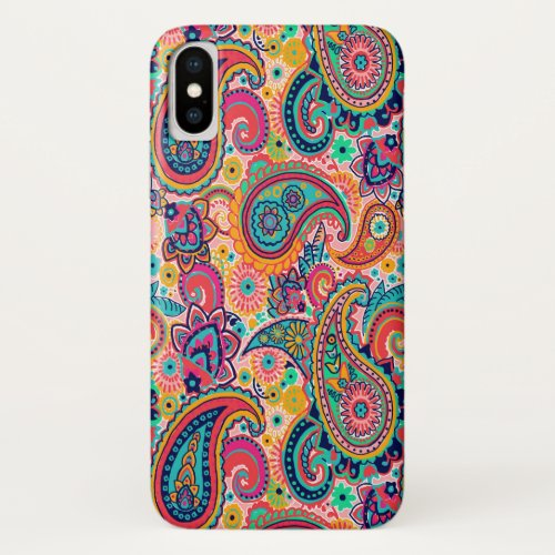 Bright Rainbow Paisley iPhone X Case