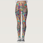 "Bright Rainbow Paisley Leggings<br><div class=""desc"">You will love our products with this bright,  colorful hand-drawn paisley pattern in all the colors of the rainbow. Orange,  red and blue tones are highlighted with uplifting mint green,  pink,  and black.</div>"