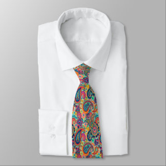 Bright Rainbow Paisley Tie