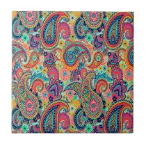Bright Rainbow Paisley Tile