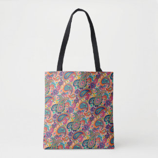 Bright Rainbow Paisley Tote Bag