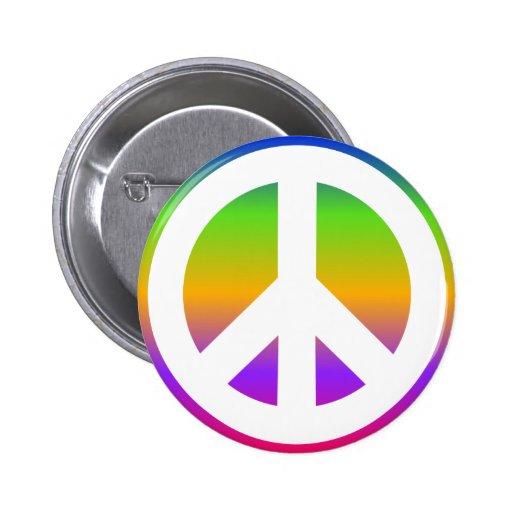 Bright Rainbow Peace Sign Button