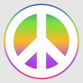 Bright Rainbow Peace Sign Sticker