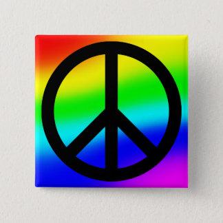 Bright Rainbow Peace Symbol Pinback Button