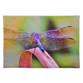 Bright Rainbow Pink Dragonfly Placemat