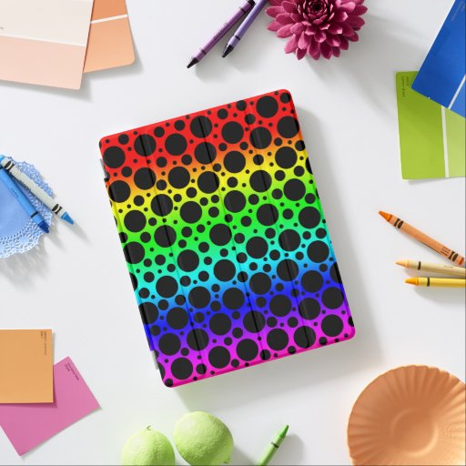 Bright Rainbow Polka Dots iPad Smart Cover