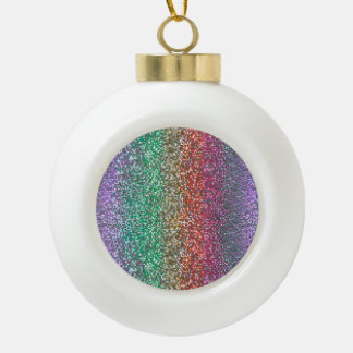 Bright Rainbow Sparkling Faux Glitter Pixel Ceramic Ball Christmas Ornament