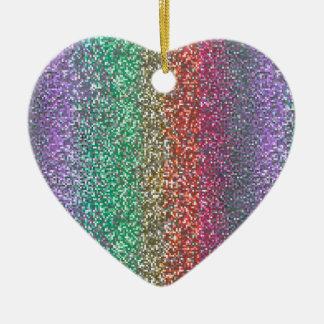 Bright Rainbow Sparkling Faux Glitter Pixel Ceramic Ornament