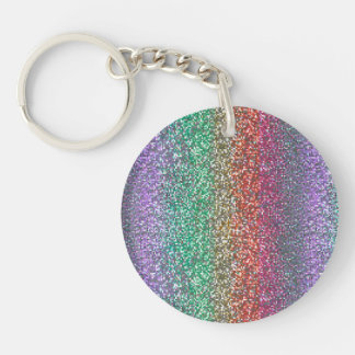 Bright Rainbow Sparkling Faux Glitter Pixel Acrylic Keychains