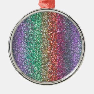 Bright Rainbow Sparkling Faux Glitter Pixel Christmas Tree Ornament