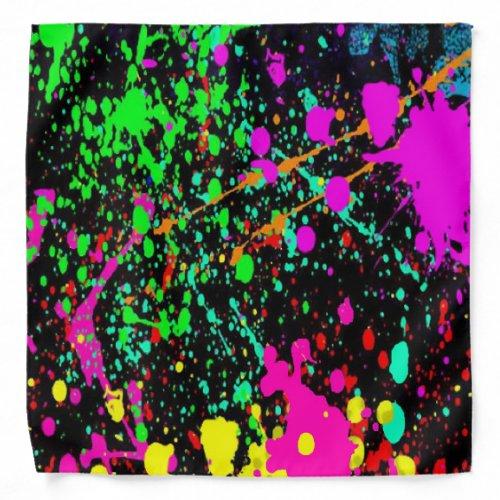 Bright Rainbow Splatter Print Bandana