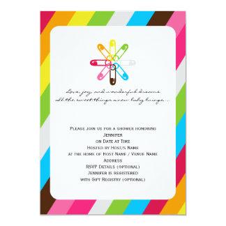 Bright Rainbow Stripe Diaper Pin Baby Shower Card